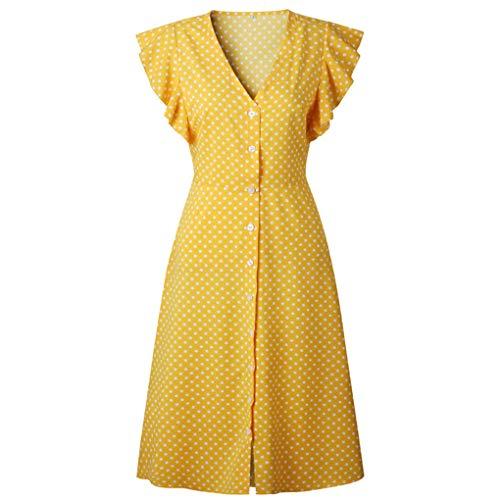 Women Office Midi Dress 80S Vintage Cute A-Line Dress Red Blue Ruffle Sleeve 0982yellow XL ()