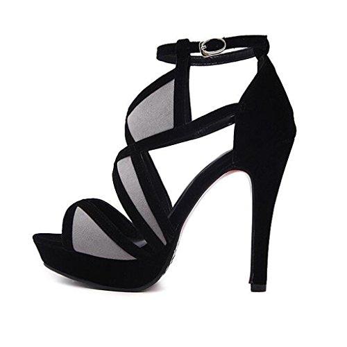 W&LM Sra Tacones altos Dedo del pie sandalias cuero Costura de patrones geométricos Tacones altos Boca de pescado sandalias Black