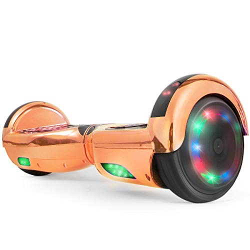 WorryFree Gadgets Hoverboard UL 2272 Certified Light-up Wheel 6.5' Bluetooth Speaker with LED Light Self Balancing Wheel Electric Scooter- Assorted Colors (Chrome Rosegold)