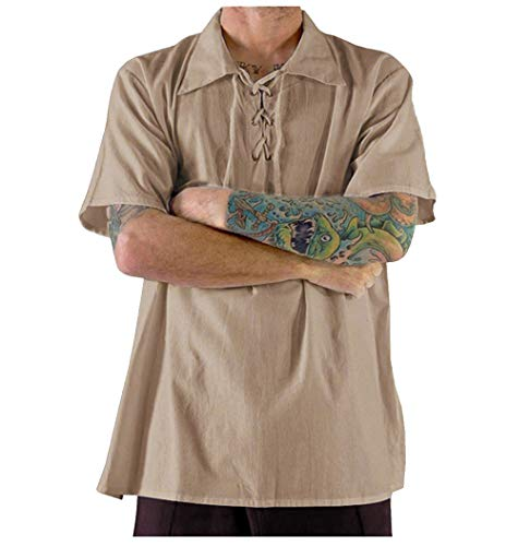 Shirt Hawaiian Short Sleeve Casual Beach Party Summer Cool Thin Breathable Tie Shirt Top (XL,Khaki)
