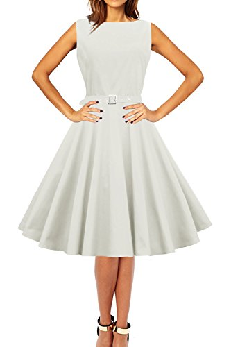 Black Butterfly 'Audrey' Vintage Clarity 50's Dress (Ivory, US 14)