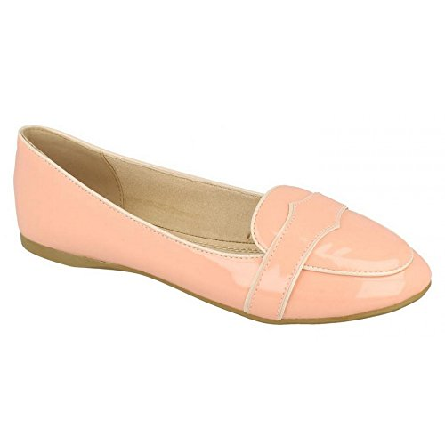 Spot On Womens/Ladies Patent Flat Casual Moccasins Pink Patent WQfH1xCAcY