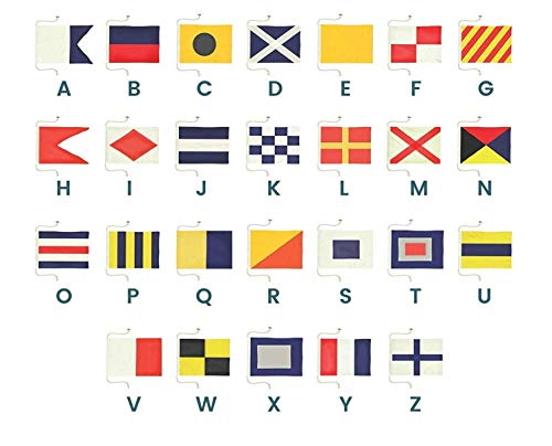 Ships Chandlery Nautical Flags | Letter A - Z Signal Flag Set - Alphabet Maritime Flag Decoration; 19.50 inch Hand-Sewn Cloth ()