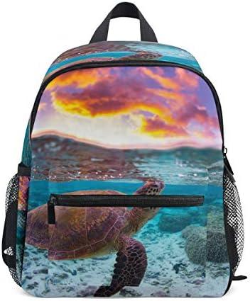 ファンタジーウミガメ幼児バックパックブックバッグミニショルダーバッグ1-6年旅行男の子女の子子供用チェストストラップホイッスル