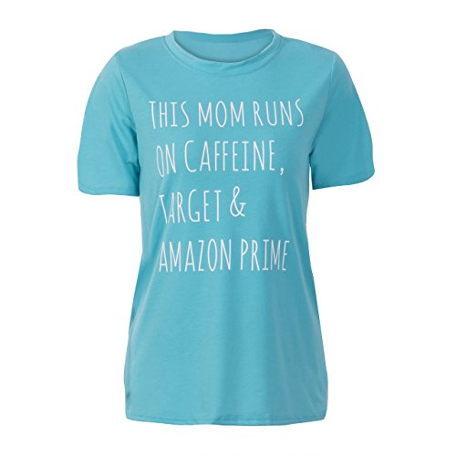 Women Letter Print Short Sleeve Crew Neck Casual Cotton T-shirt Tees Top Blouse (L, Blue)