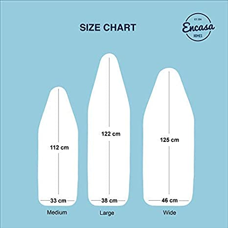 Plain Colors Elasticated, Ice Blue Scorch Resistant Heavy Duty Fits Standard Large Boards of 15 x 54 inch Heat Reflective ENCASA Homes Replacement Ironing Board Cover with Extra Thick Pad