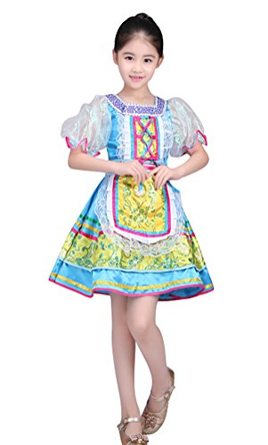 COSKING Russian Performance Wear for Girls, Deluxe Kids Folk Dance Dress Stage Court Costume (Large, Blue (Short Sleeves)) ()