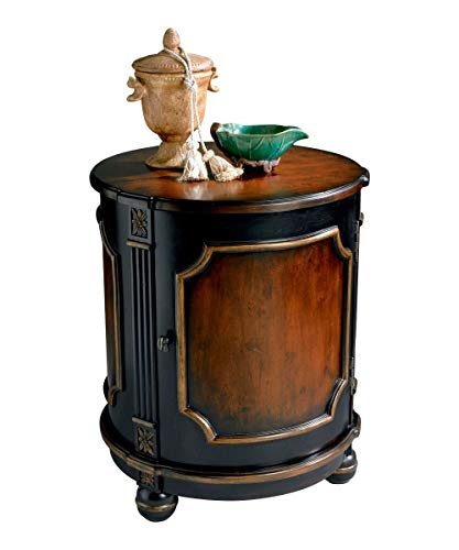 - Home Decorative Crafted Hardwood Handpainted Cafe Noir Light Drum Table with Storage