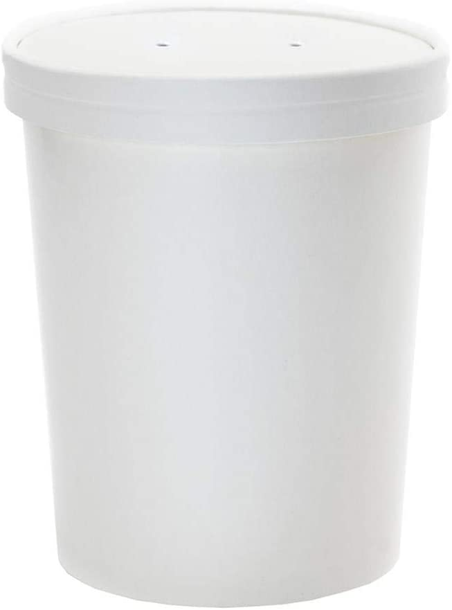 [25 Count] 32 oz Containers And Lids - White Paper Heavy Duty Containers - Quart Food Storage Containers With Vented Lids - Perfect For Soups, and So Much More! Frozen Dessert Supplies
