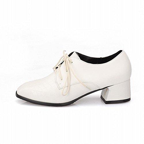 Show Shine Womens Fashion Maxi Scarpe Oxford Con Tacco Bianco