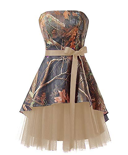 Ci-ONE Short Homecoming Dress Camo Wedding Dress Tulle Prom Dress Champagne, 8]()