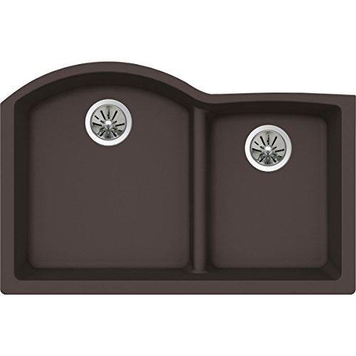 (Elkay Quartz Luxe ELXHU3322RCN0 Chestnut Offset 60/40 Double Bowl Undermount Sink with Aqua Divide)