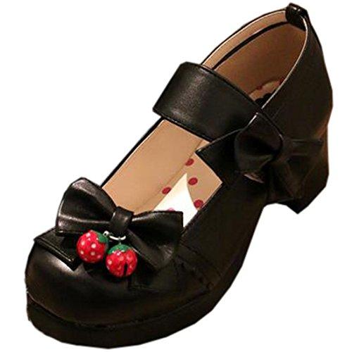 Partiss Damen Sweet Lolita Wedge Shoes Japanisch High-top Casual Lolita Pumps Herbst Fruehling Hochzeit Tanzenball Maskerade Cosplay Diestmaedchen Bowknots Platform Pumps Lolita Schuhen Schwarz