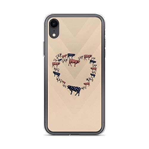 iPhone XR Pure Clear Case Cases Cover Cow USA Flag Heart Classic American Flag Patriotic Animal USA Happy Independence ()