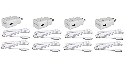 4 Pack Original Samsung Fast Charging Adapter Travel Charger + (2) 5 Foot Micro USB Data Cables - White