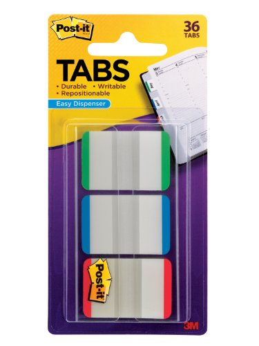 Post-it Tabs with On-the-Go Dispenser, 1-Inch Lined, Green, Blue, and Red, 12-Tabs/Color, 36-Tabs/Dispenser