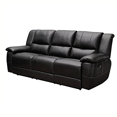BOWERY HILL Transitional Motion Leather Sofa with Pillow Arms in Black
