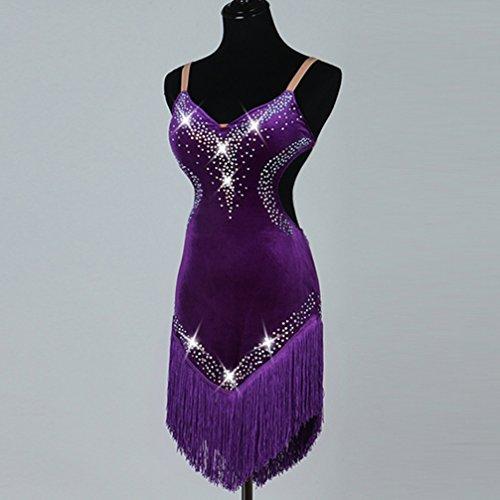 Latino De Baile Profesional Con Mujeres Diamantes Para Vestido Terciopelo Imitación Purple Rendimiento Vestidos Aprovechar Moliyanzi Ropa Competencia Borla XwqtHRW
