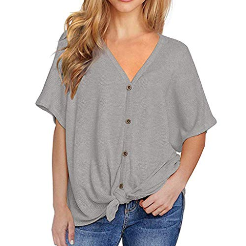 (Ulanda Womens Waffle Knit Tunic Blouse V Neck Button Down Tie Knot Henley Tops Bat Wing Plain Shirts (Medium, Short Sleeve - Gray))