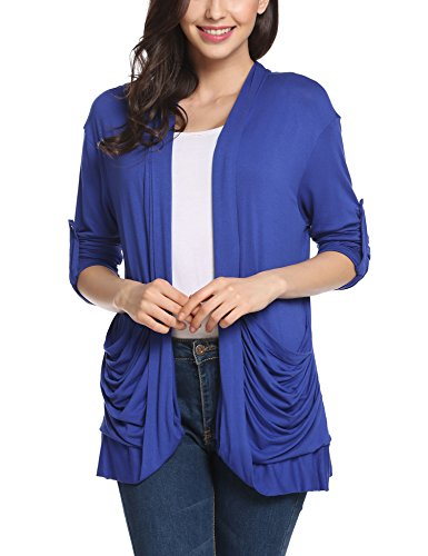 Meaneor Women's Boyfriend Pocket Cardigan Jersey Shrug Blue M