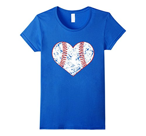 Women's Baseball Heart T Shirt, Gift for Softball Mom or Dad, Team Large Royal Blue