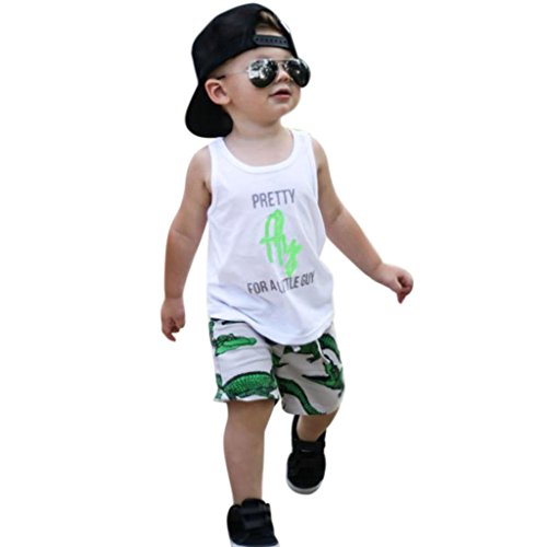 [Anshinto Summer Toddler Kids Baby Boys Outfit Clothes Printing Vest Top T-Shirt & Short Pant Set] (Animal Outfits For Toddlers)