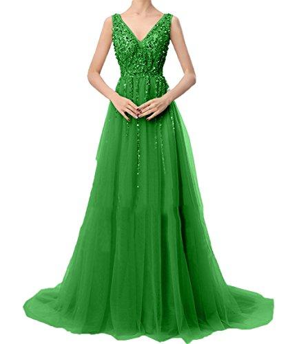 v Festlichkleider A Abendkleider Ballkleider Partykleider Ausschnitt Grün Linie Langes Damen Charmant Promkleider pwWFEE
