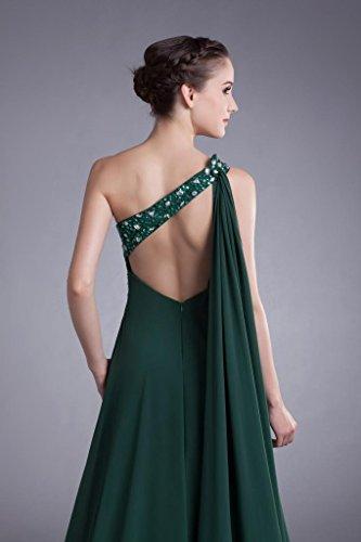 Abendkleid Kleid BRIDE GEORGE Front Split Olive Gruen Chiffon Schulter Langes Elegante 707xwqpR4