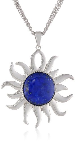 Sterling Silver Simulated Sunshine Pendant Necklace, 18""