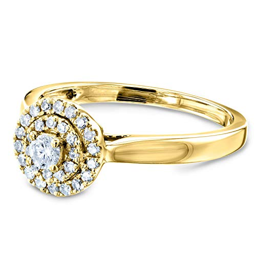 Kobelli Round Circle Cluster Double Halo Taper Shank Diamond Ring 1/5 Carat TDW in 14k Yellow Gold, 10.5