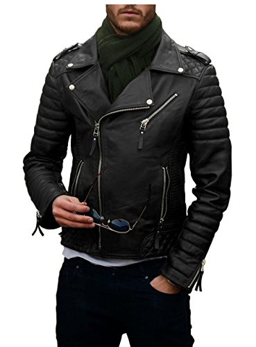 Laverapelle Men's Genuine Lambskin Leather Jacket (Black, Large, Polyester Lining) - 1501474 (Peak Performance Rocker Jacket)