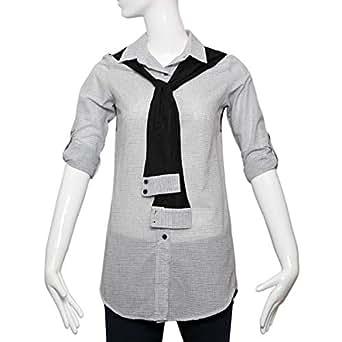 Puanli Grey Cotton Shirt Neck Shirts For Women