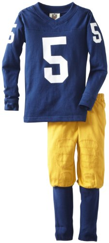 Wes and Willy Little Boys' No.5 Football 2 Piece Pajama Set, ND Navy, 4 -