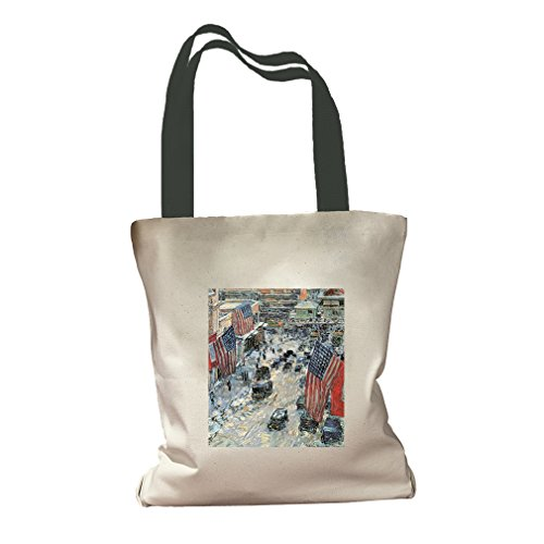 Flags On 5Th Ave Winter 1918 (Hassam) Canvas Colored Handles Tote - - 5th Shopping On Ave
