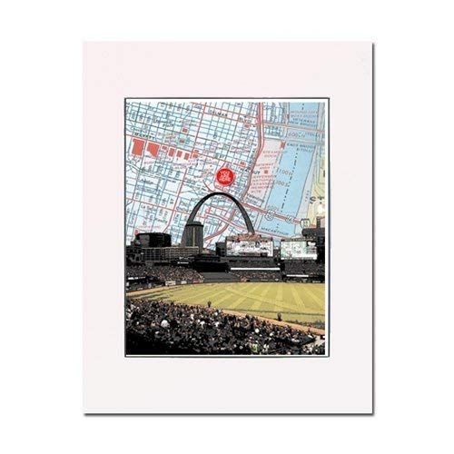 Busch Baseball Stadium inside with Gateway Arch art print. Enhance your home or office. Gallery quality. Matted and ()