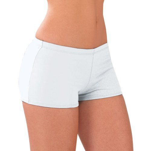 Body Wrappers 100% Stretch Nylon Low-rise Boy Cut Cheerleading Brief Trunks, Axs, White ()