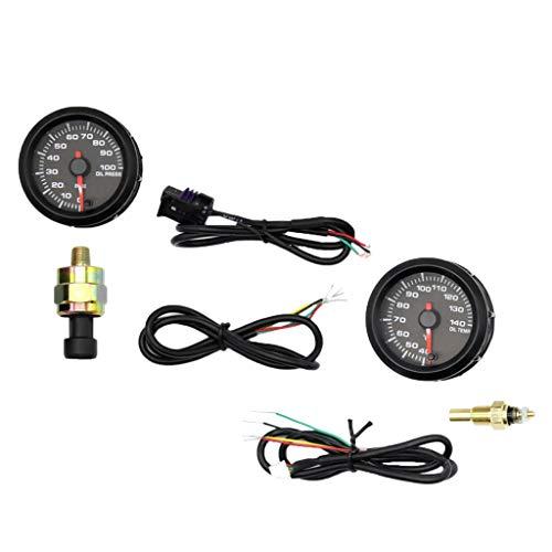 Lcd Oil Temperature Gauge - Baosity 2inch LCD Car Racing Modified Oil Temperature Gauge+Oil Pressure Gauge W Sensor