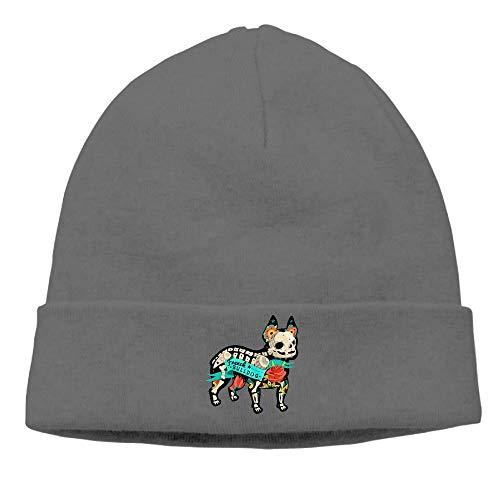 Bulldog Skeleton Beanies Caps Skull Hats Unisex Soft Cotton Warm Hedging Cap,One -