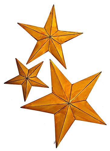 Bellaa 27048 Metal Wall Star 24-Inch 18-Inch and 12-Inch Set of 3 Orange (Yellow 27048, 24-Inch, 18-Inch and 12-Inch, Set) -