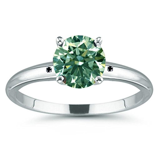 RINGJEWEL Round Green Moissanite Solitaire Silver Plated Engagement Ring (Size 7,13.53 ct,VS1 Clarity) by RINGJEWEL
