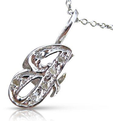 Milano Jewelers .06CT ROUND DIAMOND 14KT WHITE GOLD 3D CLASSIC SCRIPT g INITIAL PENDANT #15920 (Initial Ct Pendant 0.06)