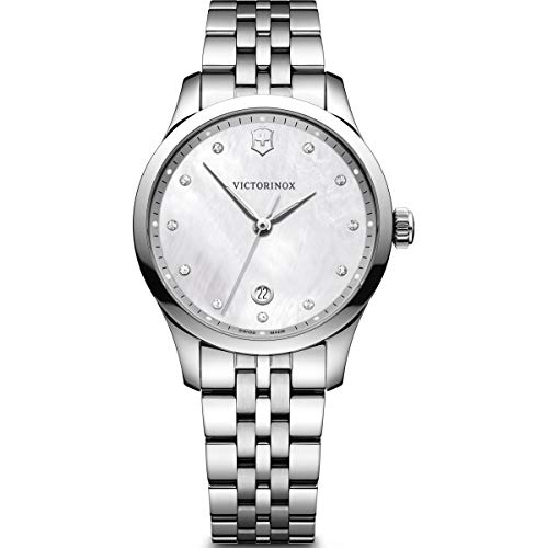 Victorinox Alliance Small Crystal White Mother of Pearl Dial Ladies Watch 241830