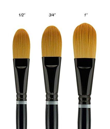 Creative Mark Beste Golden Taklon Hair Paint Brush Used For Any Watermedia, Acrylics, Watercolor, Oils, Fine Art, Heavy Bodied Media - Single Brush - [Oval Wash - 1'']