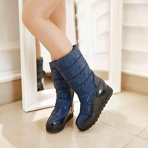 D'hiver Bleu De Caoutchouc Extérieures Bottes Fourrées botte Semelle Kaiki bottes Neige Femme Pour Femmes Chaussures En Chaussure Chaudes qgtTF