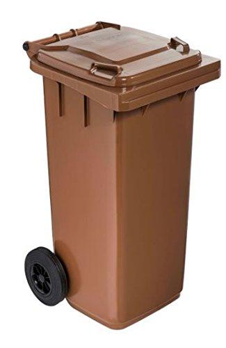 Cubo de basura de reciclaje con tapa y ruedas cm, 55 x 50 x 94 cm, 120 litros. Color marrón: Amazon.es: Hogar