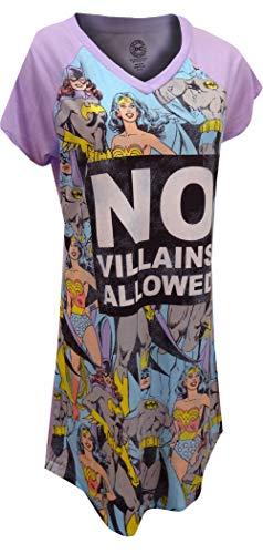 DC Comics No Villains Allowed Nightgown Long Sleep Shirt - -