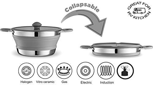 - Gourmia GCP9940 3qt Collapsible Pot - Stainless Steel, Silicone and Glass Lid - for Gas and Electric Stove Cooking - Great for RV, Outdoors, Hiking, Camping, Traveling - BPA Free