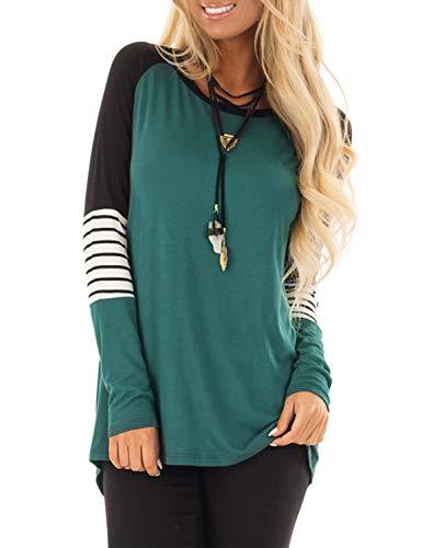 BMJL Women's Long Sleeve Blouse Crew Neck Stripe T Shirt Color Block Elbow Patch Tops (L,Multicolor)