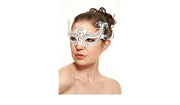 White Swan Masquerade Ball Thin Laser Cut Metal Mask with Clear Rhinestones.