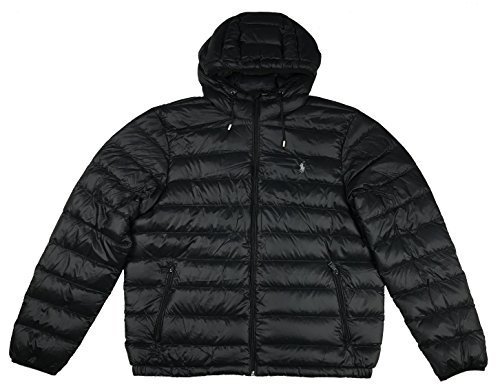 Polo Ralph Lauren Men's Hooded Down Jakcet, Packable (M, Black) ()